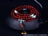 非洲小叶紫檀手链108颗藏银三通水晶配饰款